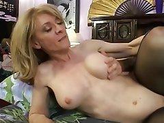 Mature Blonde Nylon
