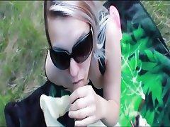 Amateur Blonde Facial Outdoor