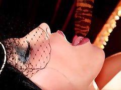 Brunette Lingerie Masturbation Stockings