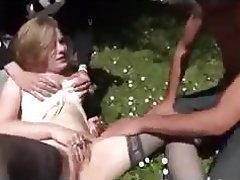 Blonde French Hardcore Outdoor Threesome